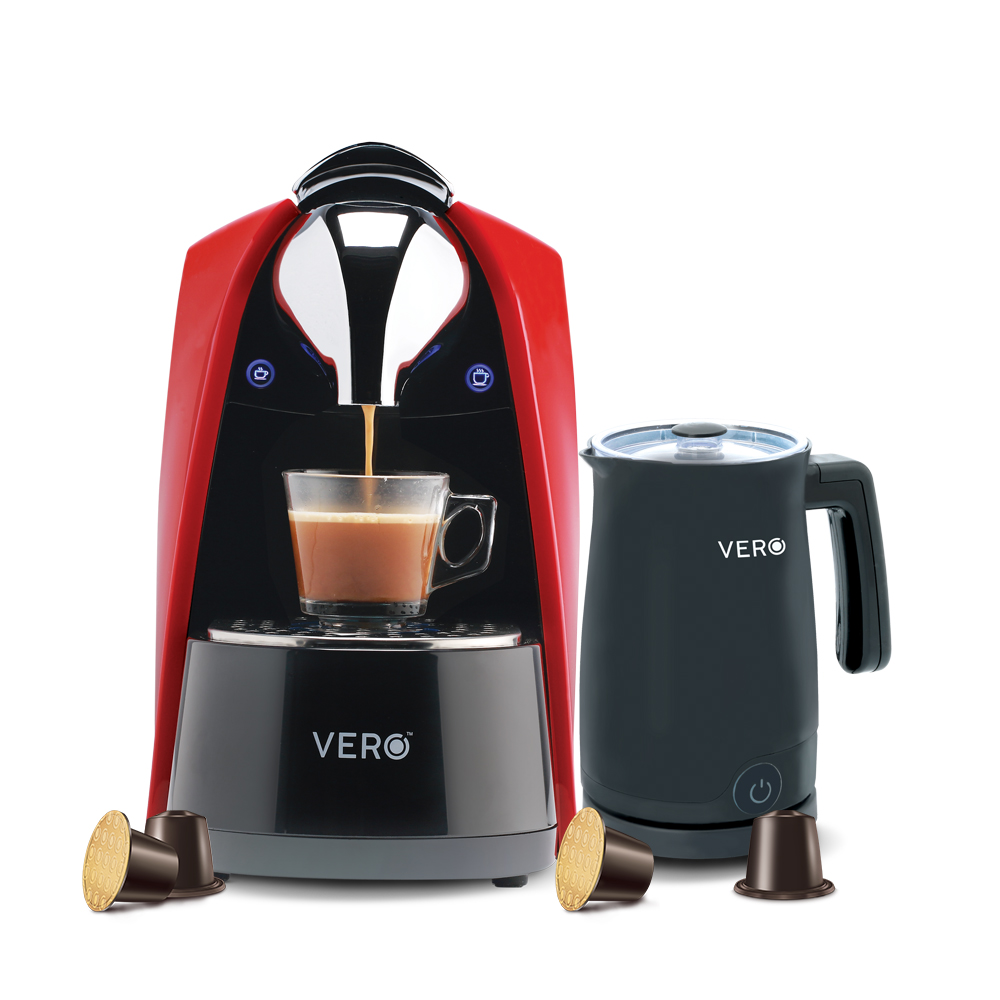 Vero Red Infuso Coffee Machine Black Milk Frother 10 Assorted